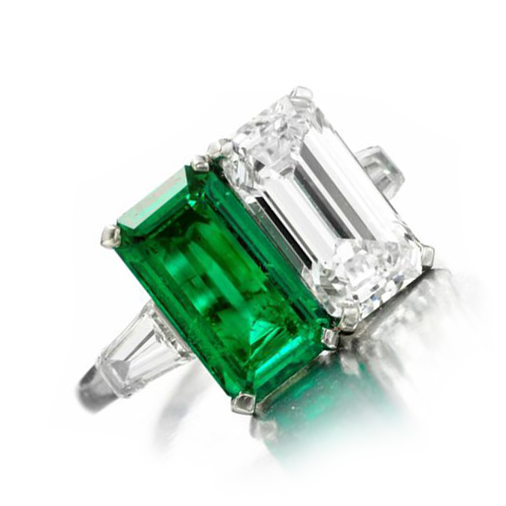 A Colombian Emerald and Diamond Twin-stone Ring, by Bulgari, circa 1960