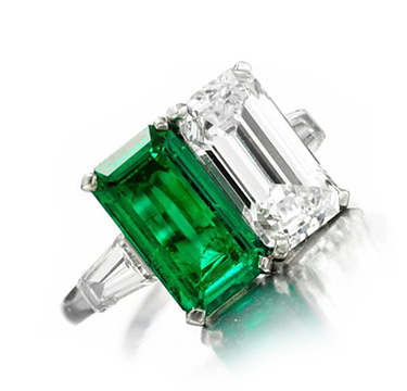 A Colombian Emerald and Diamond Twin-stone Ring, by Bulgari, circa 1960