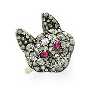 An Old mine-cut Diamond and Ruby Fox Ring