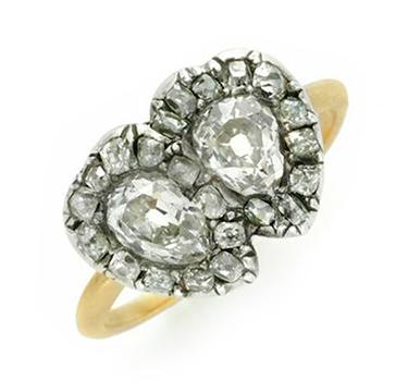 An Antique Diamond Twin Hearts Ring, circa 1860