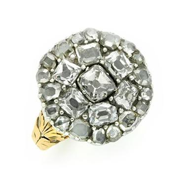 An Antique Old Mine-cut Diamond Plaque Ring, circa 1800