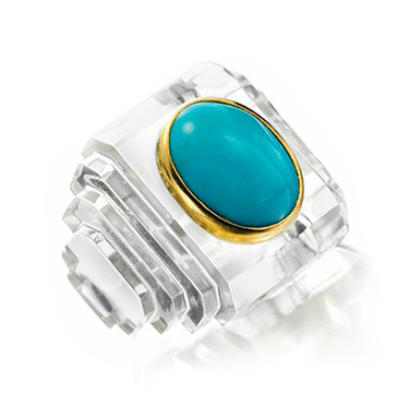 A Turquoise and Rock Crystal Ring, by Suzanne Belperron, circa 1945