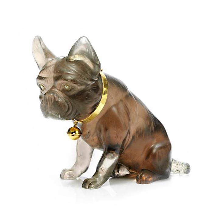 A Smokey Quartz, Diamond and Gold Dog Sculpture, by Asprey