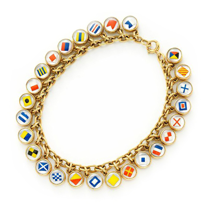 An Antique Enamel and Gold Nautical Flag Bracelet, circa 1900