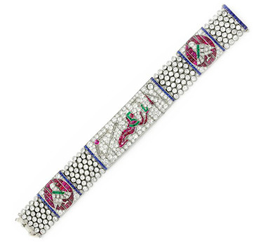 An Egyptian Revival Diamond And Multi-gem Bracelet By LaCloche Freres, Circa 1925