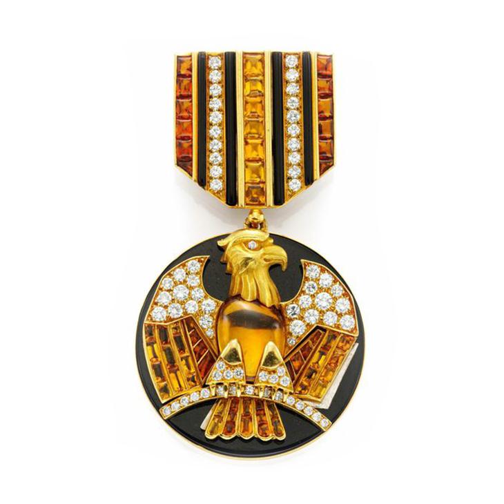 A Citrine, Gold and Onyx 'Order' Brooch, by Bulgari, circa 1980