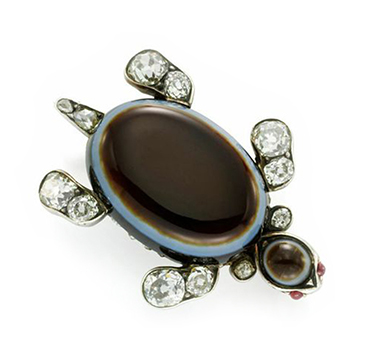 An Antique Agate, Diamond and Ruby Turtle Brooch, circa 19th Century