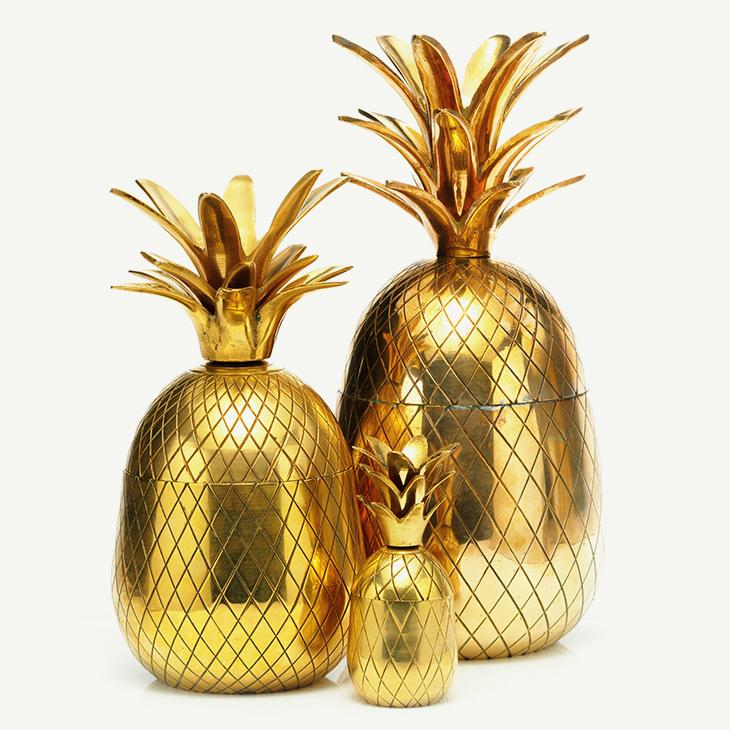 FD TABLETOP   Brass Pineapple Ice Buckets