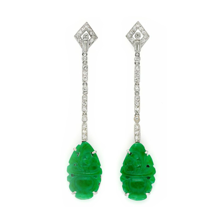 A Pair of Art Deco Carved Jade and Diamond Ear Pendants