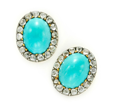 A Pair of Antique Turquoise and Rose-cut Diamond Ear Studs