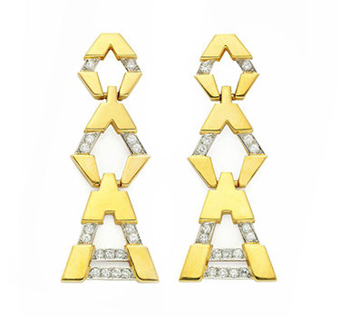 A Pair Of Gold And Diamond Ear Pendants, By Tiffany & Co.