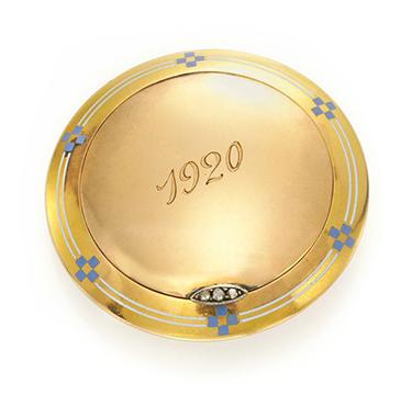 An Art Deco Enamel, Gold and Diamond Pillbox, by Cartier, circa 1920