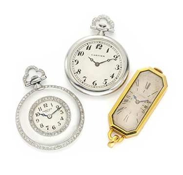 A Group of Art Deco Platinum, Diamond and Gold Pocket Watches, by Cartier