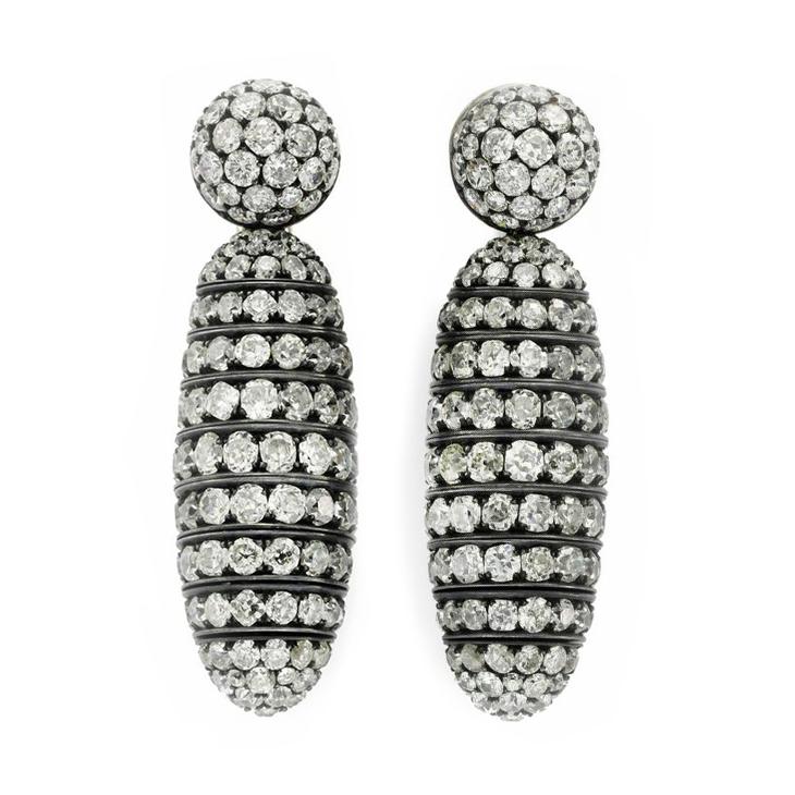 A Pair of Old European-cut Diamond Ear Pendants, by Hemmerle