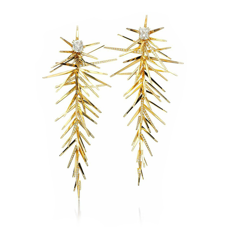 A Pair of Gold and Diamond Ear Pendants, by SABBA