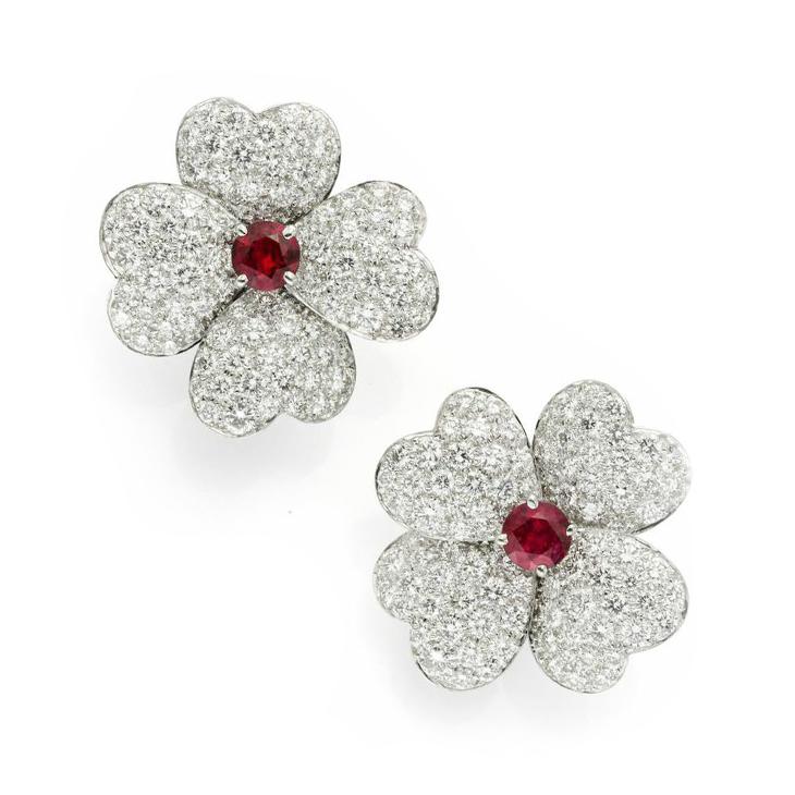 A Pair of Circular-cut Ruby and Diamond Flower Ear Clips, by Van Cleef & Arpels, circa 1980