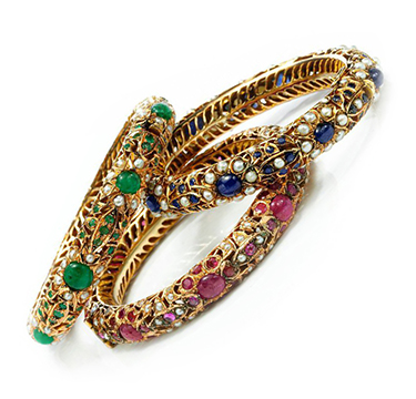 A Set of Three Multi-Gem and Gold Indo-style Bangle Bracelets, circa 1960