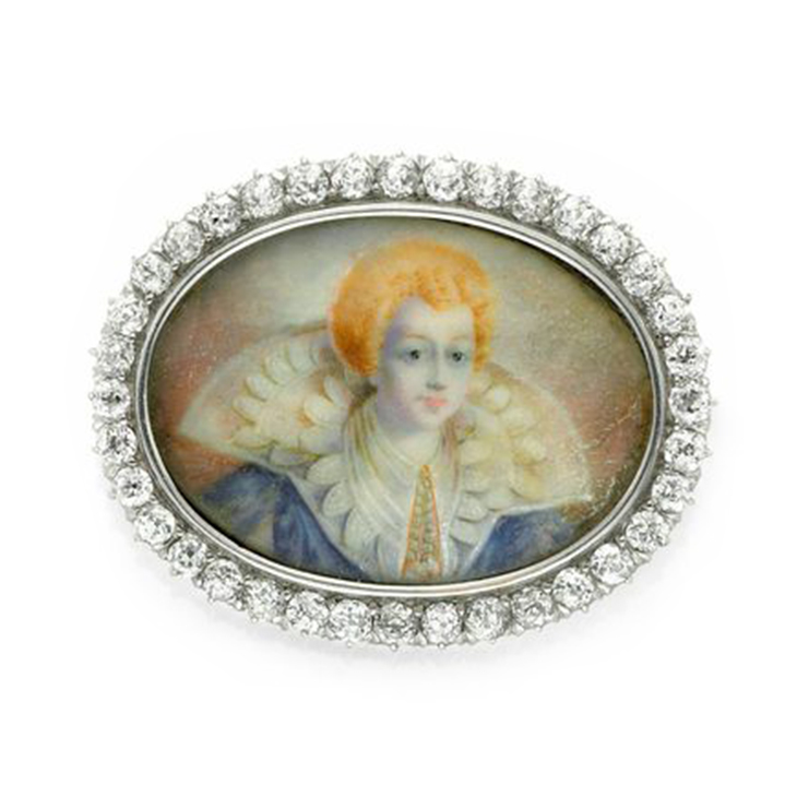 A Miniature Portrait and Diamond Brooch, by Tiffany & Co.