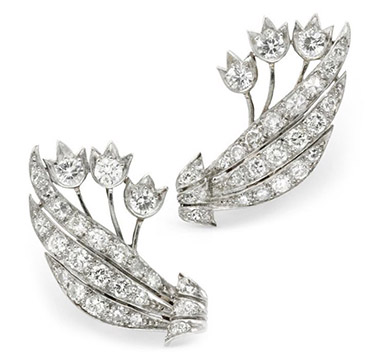 A Pair of Diamond and Platinum Flower Ear Clips, circa 1940