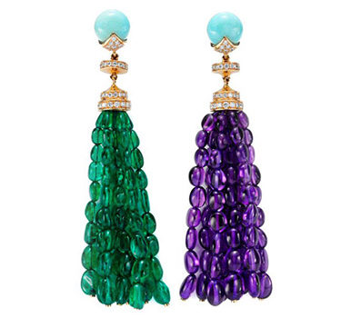 A Pair Of Emerald And Amethyst Bead, Turquoise And Diamond Ear Pendants, By Bulgari