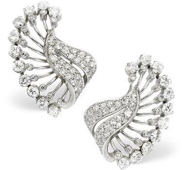 A Pair Of Diamond And Platinum Foliate Ear Clips, Circa 1940