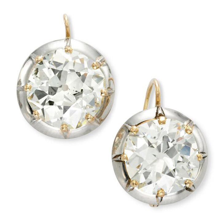 A Pair of Antique Old Mine Cut Cushion-cut Diamond Earrings