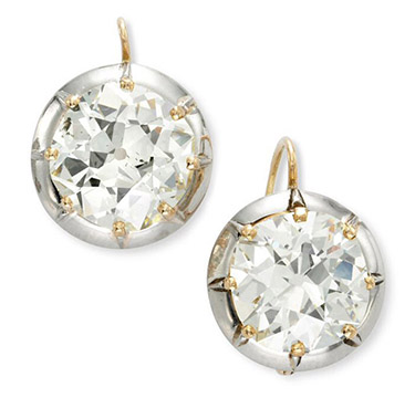 A Pair of Antique Old Mine Cut Cushion-cut Diamond Earrings