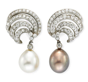 A Pair Of Natural Pearl And Diamond Scroll Ear Pendants, Circa 1945