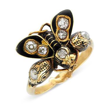 An Antique Black Enamel and Diamond Ring