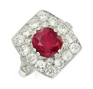 An Art Deco Ruby and Diamond Ring