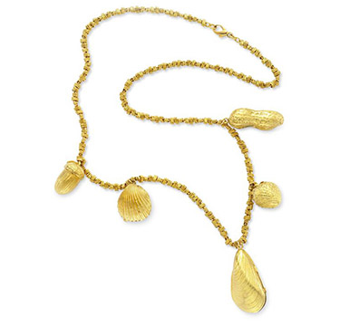 A Gold Pendant Necklace, suspending lockets in the forms of shells and nuts, circa 1970