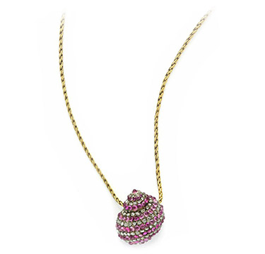 An Antique Cabochon Ruby and Rose-cut Diamond Shell Pendant Necklace