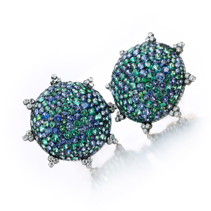 A Pair of Sapphire and Diamond Ear Clips, by JAR