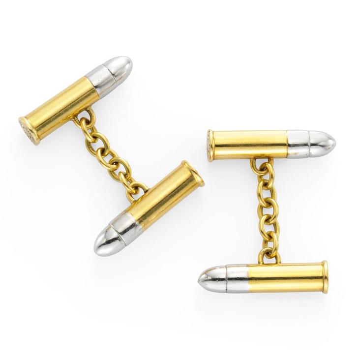 A Pair of Bi-colored 18k Gold Cufflinks