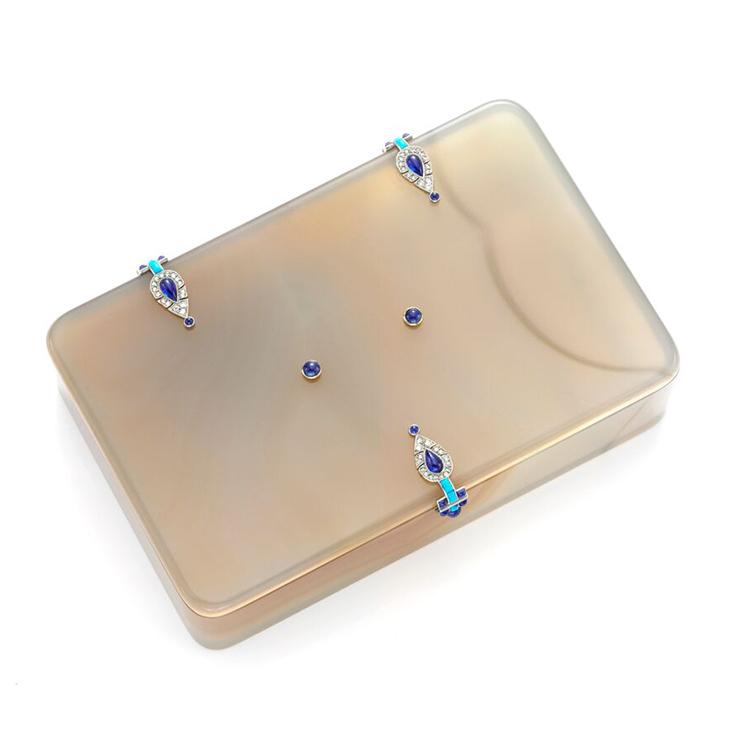 An Art Deco Agate, Lapis Lazuli, Turquoise and Diamond Box