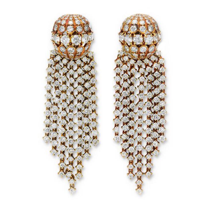 A Pair of Gold and Diamond Tassel Ear Pendants, by Van Cleef & Arpels, circa 1970