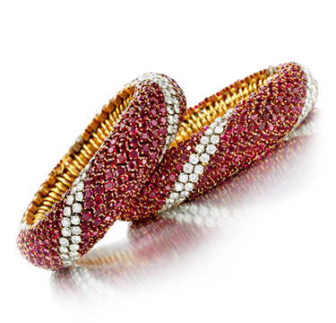 A Pair of Ruby and Diamond 'Pelouse' Bracelets, by Van Cleef and Arpels, circa 1952