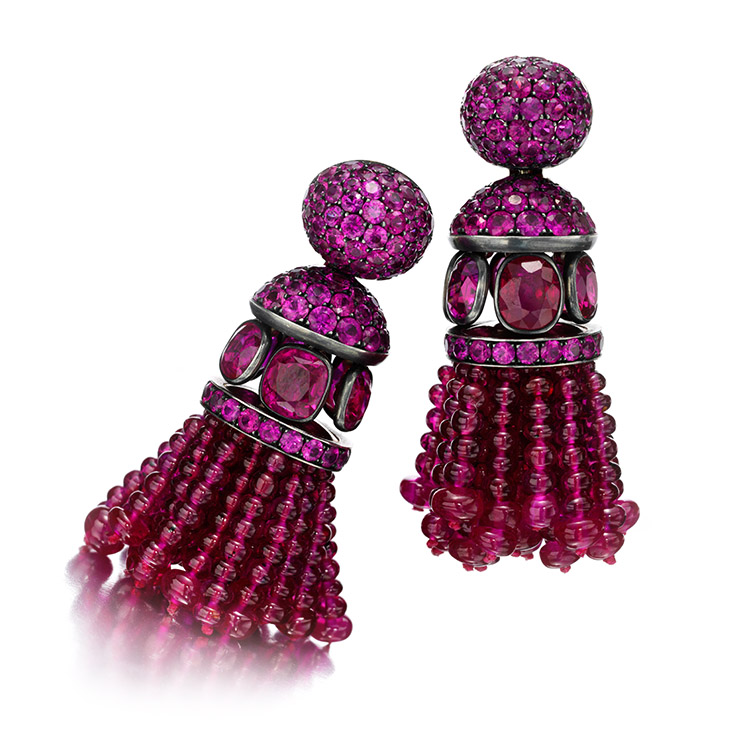 A Pair of Ruby and Pink Sapphire Tassel Ear Pendants, by Hemmerle