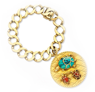 A Multi-gem and Gold Turtle Charm Bracelet, by Cartier, circa 1960