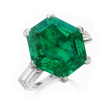 A Hexagonal-cut Emerald and Diamond Ring, of 11.49 Carats, by Cartier