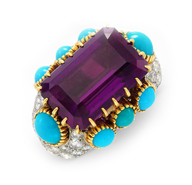 An Amethyst, Turquoise and Diamond Ring, by Cartier, circa 1955
