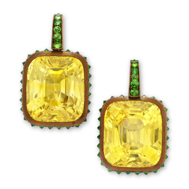 A Pair of Yellow Sapphire and Demantoid Garnet Ear Pendants