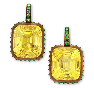 A Pair Of Yellow Sapphire And Demantoid Garnet Ear Pendants
