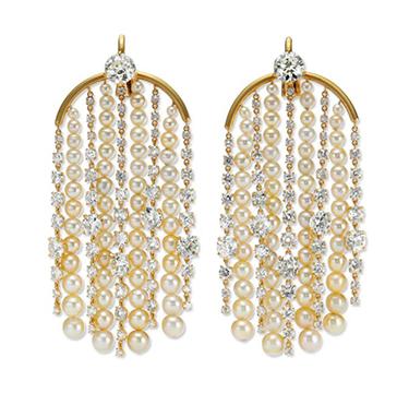 A Pair of Natural Pearl and Cushion-cut Diamond Ear Pendants, by SABBA