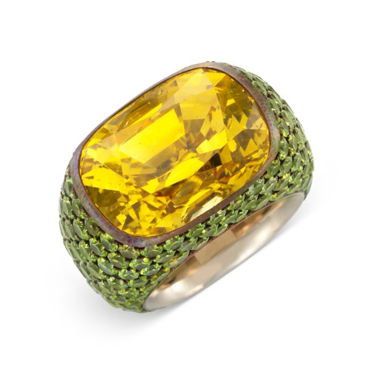 A Yellow Sapphire and Demantoid Garnet Ring, by Hemmerle