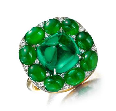 A Cabochon Emerald, Jade and Diamond Ring, by SABBA