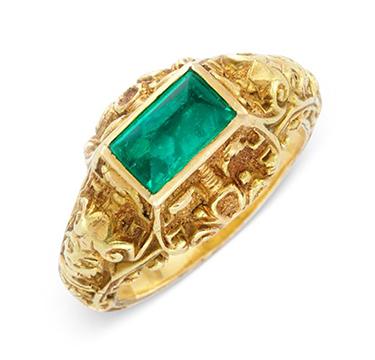 A Cabochon Emerald and Gold Renaissance Revival Ring, circa 19th Century