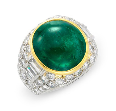 A Cabochon Emerald and Diamond Ring, by Bulgari, circa 1980