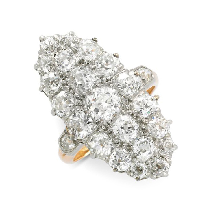 An Antique Old European-cut Diamond Cluster Navette Ring, circa 19th Century