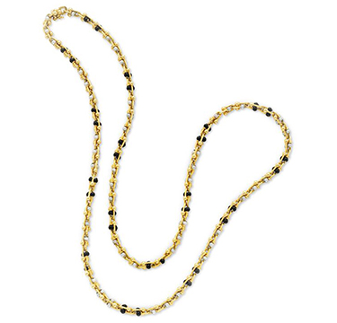 A Gold, Onyx and Cultured Pearl Long Chain Necklace, by Bulgari, circa 1970
